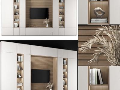 现代电视背景墙3d模型