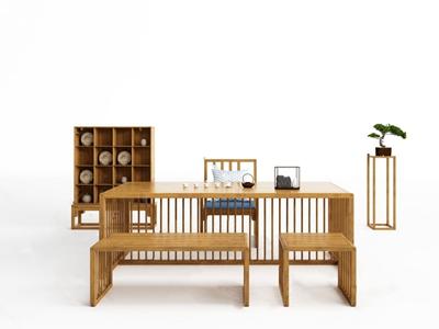 Inner印诺 新中式茶桌椅 新中式茶桌椅 茶台 边几 茶具 单人椅 松树 Inner印诺