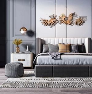 现代轻奢双人床床头柜组合 现代双人床 床头柜 坐垫 墙饰 单头吊灯 床品