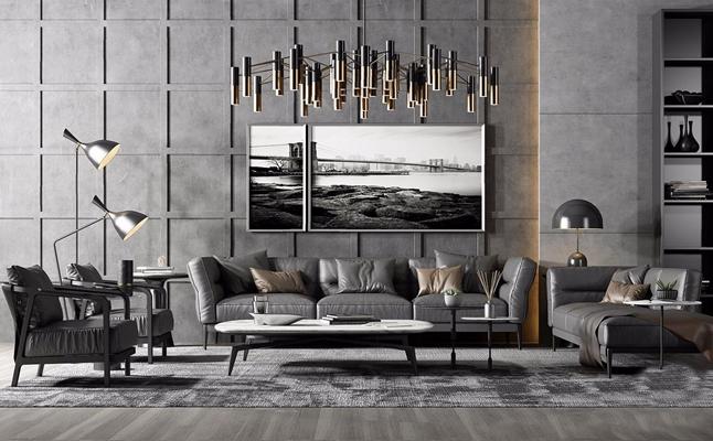 现代奢华皮革沙发组合 现代组合沙发 茶几 圆几 吊灯 落地灯 台灯 休闲椅 壁柜 挂画 饰品 摆件