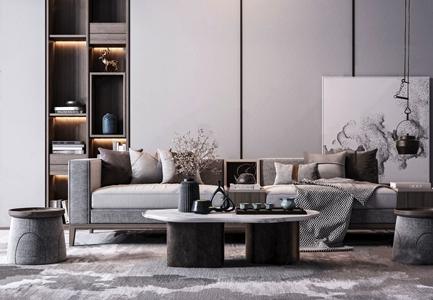 新中式沙发茶几摆件组合 新中式沙发茶几组合 多人沙发 茶几 边几 壁柜 吊壶 布艺沙发 雕塑摆件 茶具