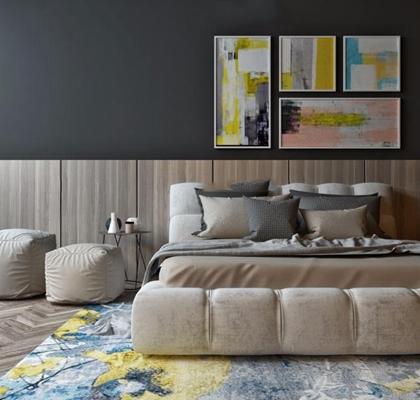 北欧床具 北欧床具 双人床 装饰画 床品 摆件 角几 地毯