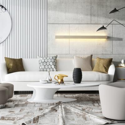 现代沙发茶几背景墙落地灯摆件3D模型