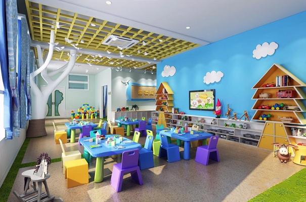 幼儿园森林主题活动教室 现代幼儿园 森林主题 活动教室 儿童桌椅 玩具