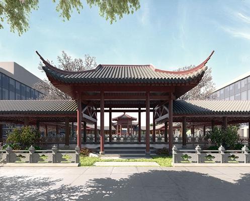 中式景观建筑 中式景观 庭院 走廊 书 植物