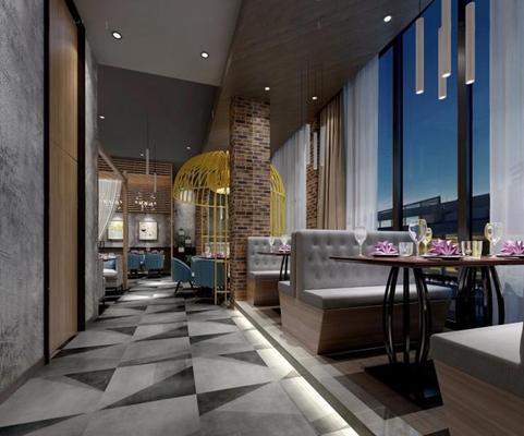酒店餐厅 酒店餐厅 餐桌椅 卡座 沙发 墙饰 绿植 笼子