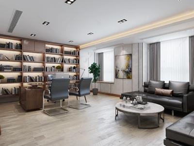 现代总经理办公室 现代办公室 班台 办公椅 办公沙发组合 壁柜 绿植 台灯 书 经理办公室