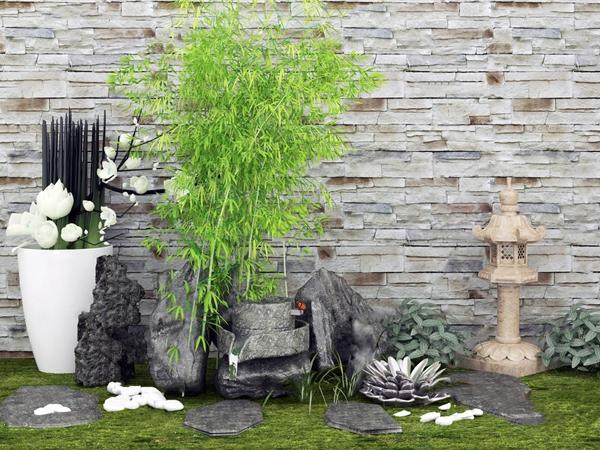新中式竹子岩石园艺小品3d模型