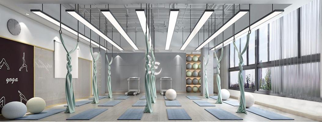 现代瑜伽室 现代娱乐会所 瑜伽垫 瑜伽球 挂钟