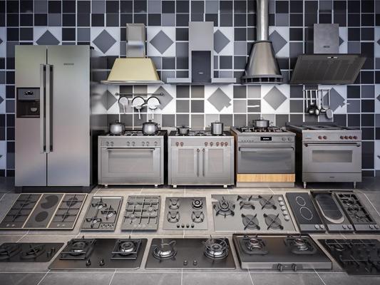 现代厨房电器 灶台油烟机冰箱组合3D模型