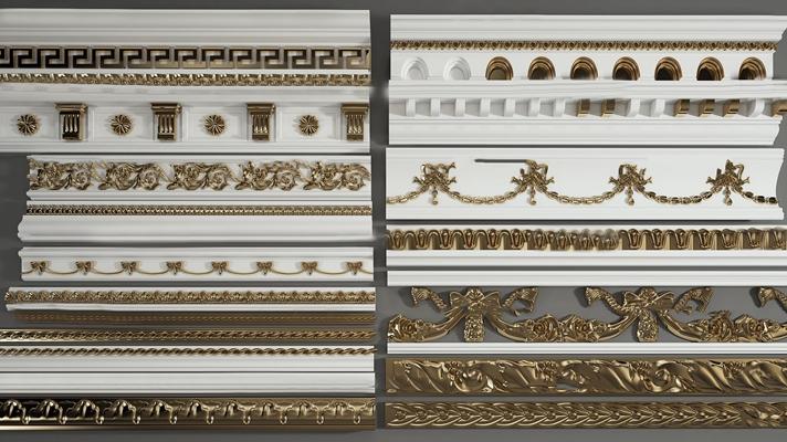 欧式石膏镀金线条角线组合3D模型
