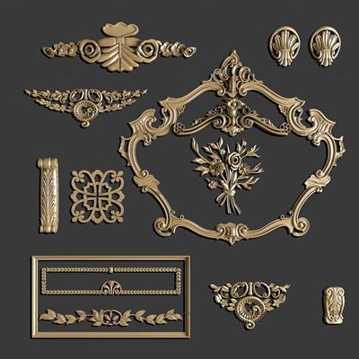 欧式镀金雕花角线组合3D模型