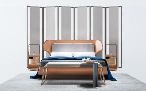 新中式双人床床头柜屏风组合3D模型