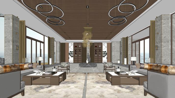 新中式酒店大堂SU模型