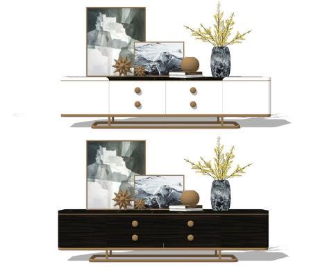 新中式电视柜组合SU模型