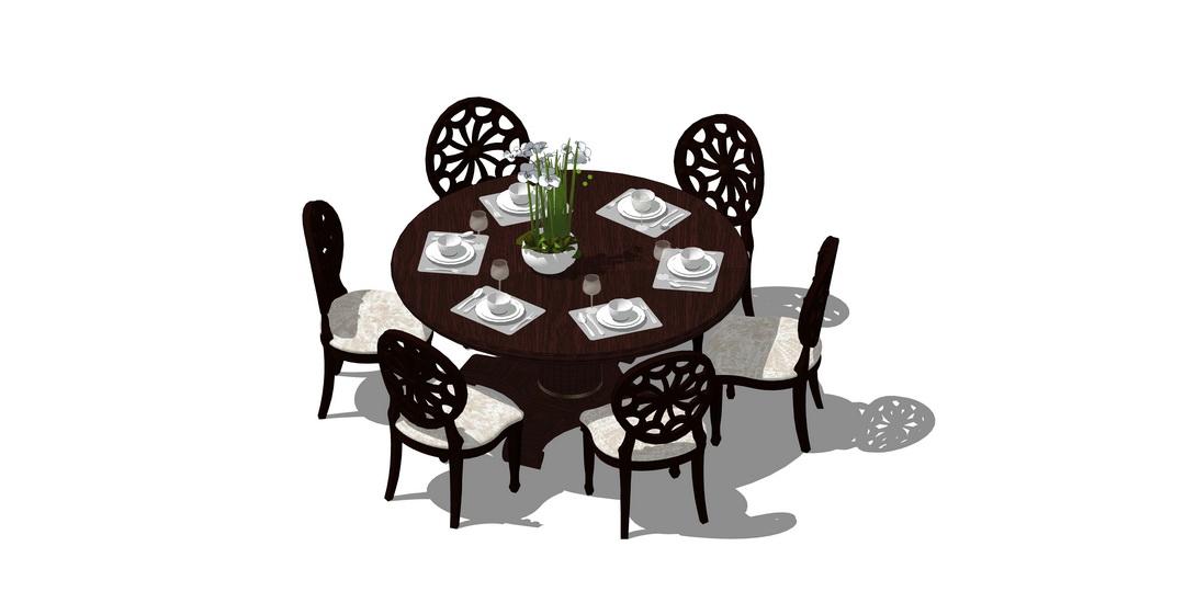 中式圆餐桌SU模型