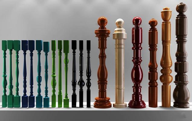 欧式实木楼梯护栏立柱扶手3D模型