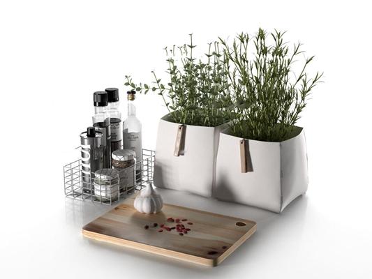 现代酒水调料菜板盆栽组合3D模型
