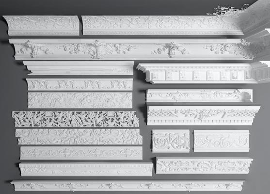 欧式石膏雕花角花角线组合3D模型