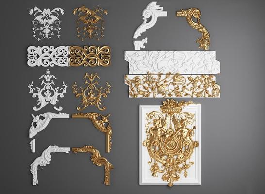 欧式雕刻石膏角线组合3D模型