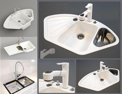 現代廚房水槽組合3D模型