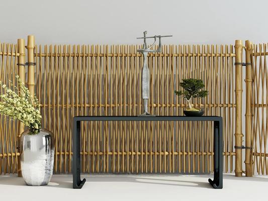新中式端景台竹子屏风花瓶组合3D模型