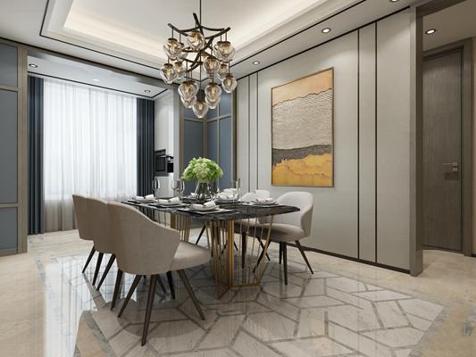 新中式简约客厅餐厅3D模型