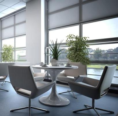 现代休闲椅圆桌组合3D模型