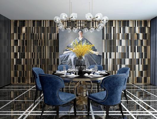现代奢华餐厅圆形餐桌椅3D模型