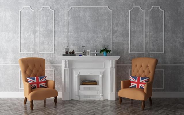 美式休闲沙发壁炉摆件组合3d模型
