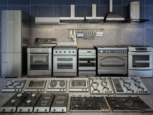 现代厨房电器燃气灶油烟机组合3D模型