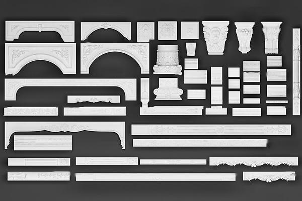 欧式石膏雕花线条角线组合3D模型