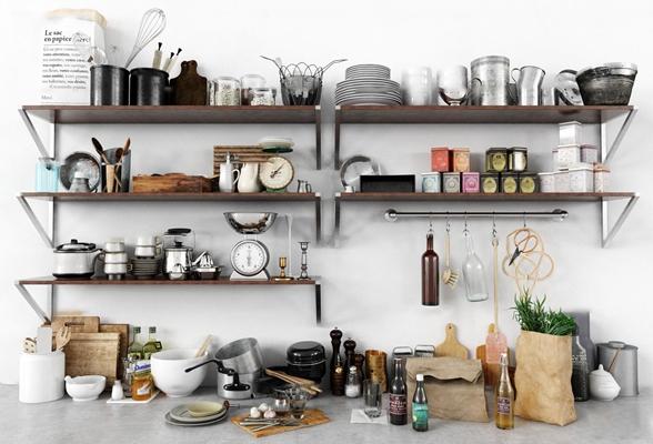现代厨具餐具调料食物组合