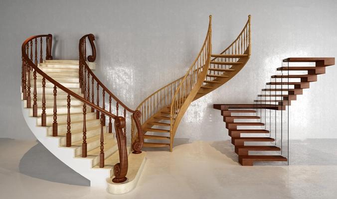 现代欧式楼梯组合3D模型