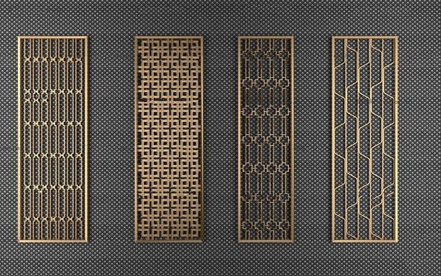 现代金属隔断屏风组合3D模型