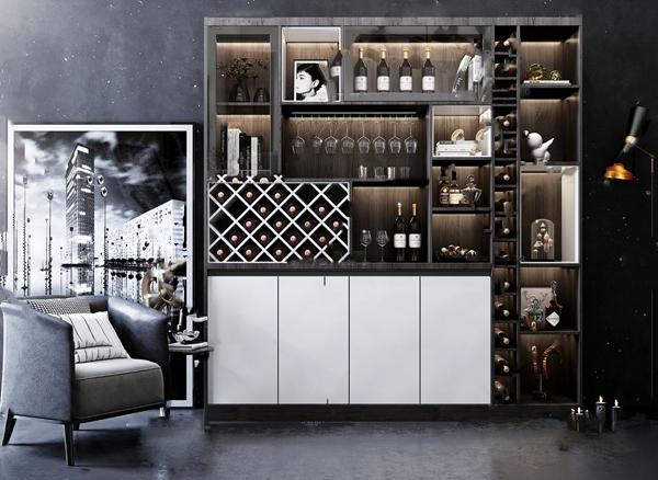 现代风格酒柜休闲椅组合3D模型