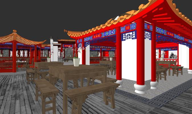 中式餐厅1F室内设计SU模型