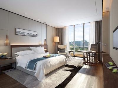现代中式酒店客房 新中式客房 双人床 床头柜 单椅 边几 书桌 电视柜 落地灯