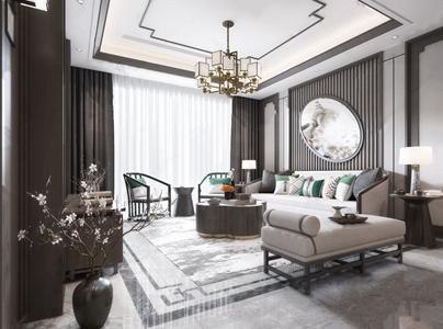新中式主人房 新中式客厅 多人沙发 茶几 吊灯 台灯 地毯 窗帘 装饰品 挂画 抱枕