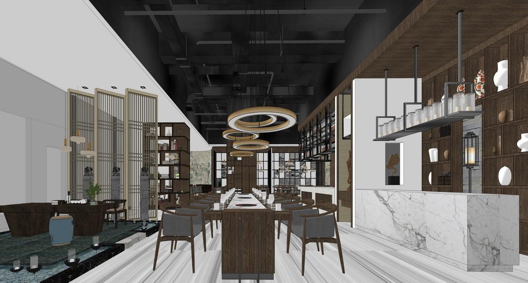 新中式餐厅室内设计SU模型