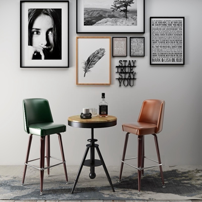 现代吧椅挂画 吧椅 挂画 桌几