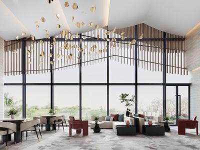 纳沃设计 新中式售楼处洽谈区3d模型