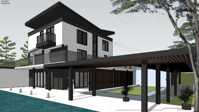 亚洲现代景观住宅 室外 建筑 庭院 楼梯 楼梯扶手