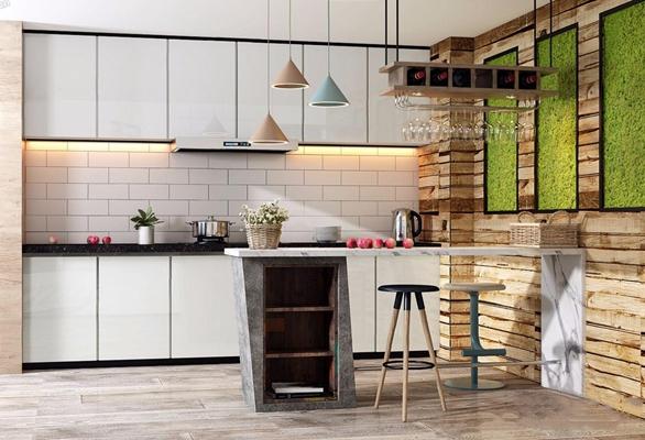 北欧厨房 北欧厨房 橱柜 吧台 吧椅 吊灯 酒杯架 绿植 花篮 绿植墙