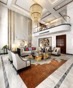 新中式別墅客廳餐廳書房3D模型