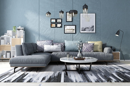 北欧沙发 北欧组合沙发 转角沙发 茶几 装饰柜 角几 吊灯