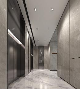 現代電梯廳3D模型