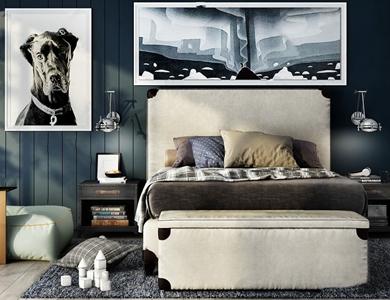 现代儿童房组合 现代单人床 单人床 床尾凳 床头柜 壁灯 装饰画 地毯