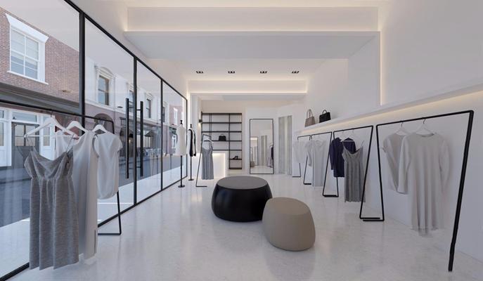 现代服装店 现代商业零售 衣服 衣架 凳子 金属架子