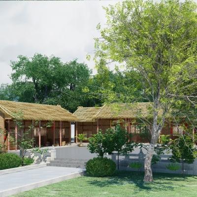 自然风农家乐茅草屋小庭院3D模型